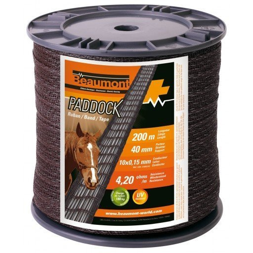 RUBAN PADDOCK MARRON 40 MM / 200 M